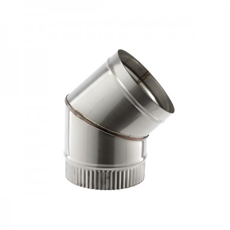 """45 DEG BEND 4"""" (102MM) SINGLE WALL STAINLESS STEEL  FLUE SW304 GRADE FOR GAS AND OIL"""
