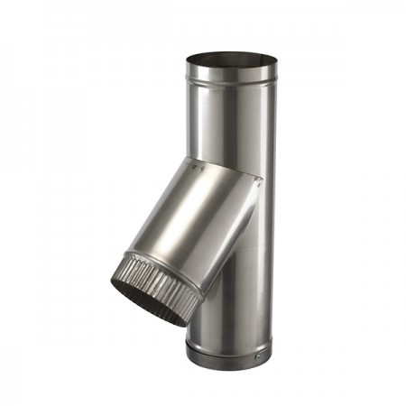 """45 DEG TEE 10"""" (254MMM) SINGLE WALL STAINLESS STEEL  FLUE SW304 GRADE FOR GAS AND OIL"""